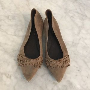 Elizabeth and James Taupe Suede Ruffle Flats.